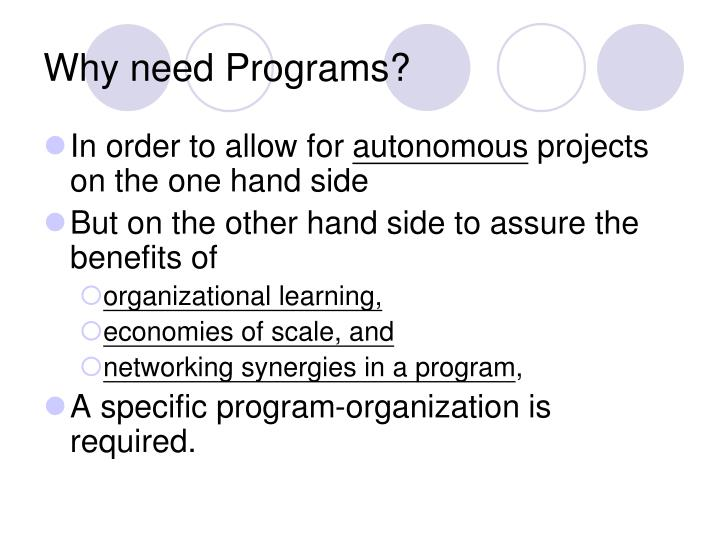 Why need Programs?