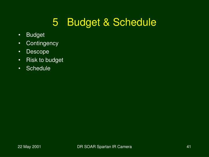 5   Budget & Schedule
