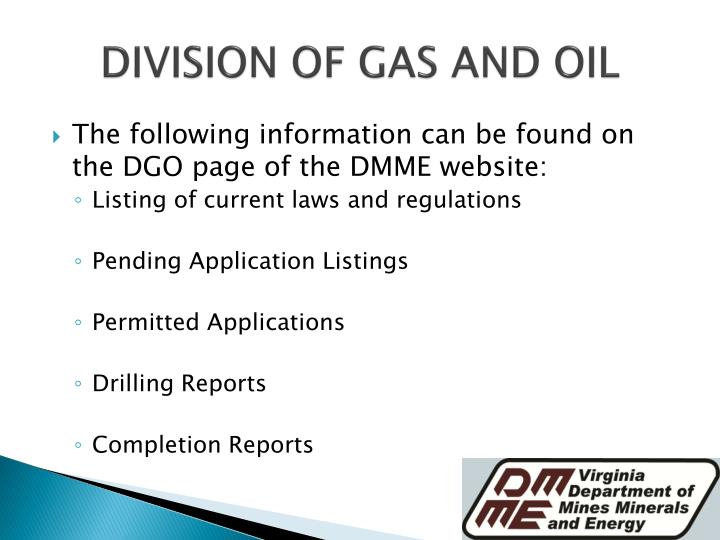 DIVISION OF GAS AND OIL