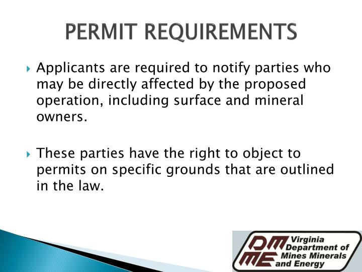 PERMIT REQUIREMENTS
