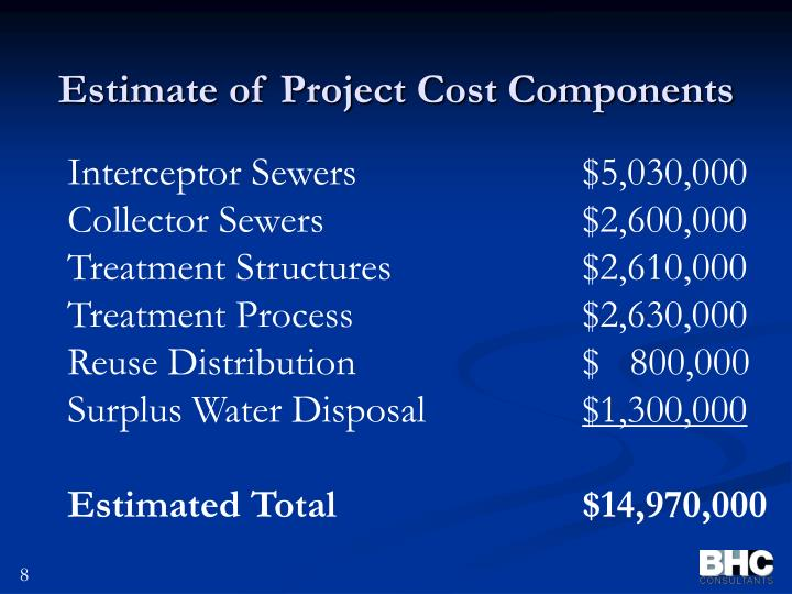 Estimate of Project Cost Components