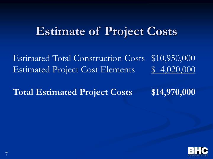 Estimate of Project Costs
