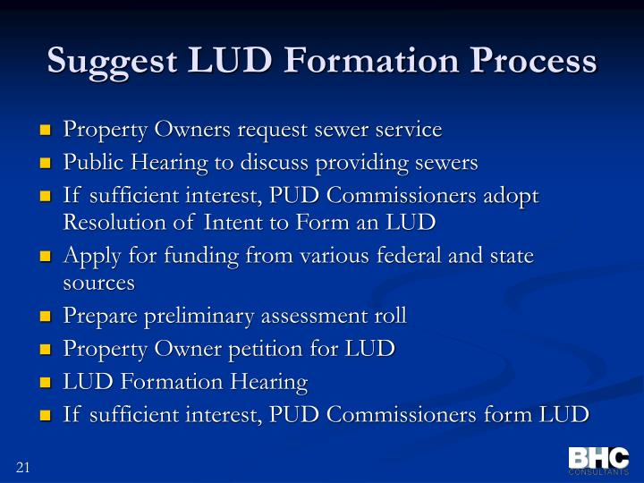 Suggest LUD Formation Process