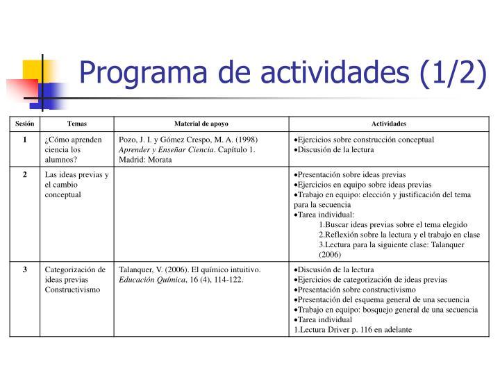 Programa de actividades (1/2)