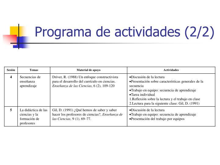 Programa de actividades (2/2)