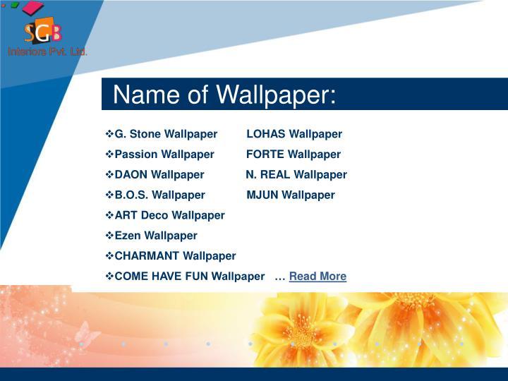 Name of Wallpaper: