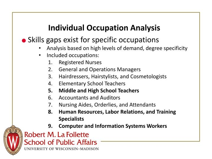 Individual Occupation Analysis