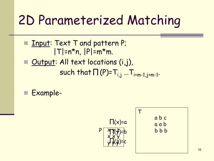 2D Parameterized Matching