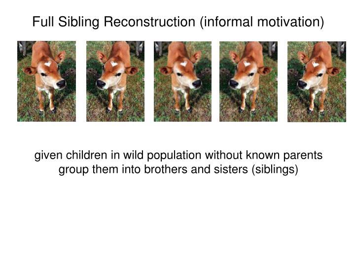 Full Sibling Reconstruction (informal motivation)