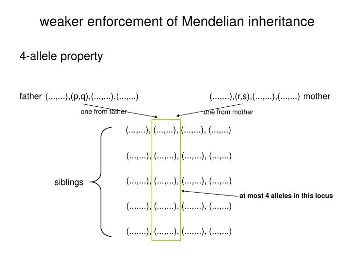 weaker enforcement of Mendelian inheritance