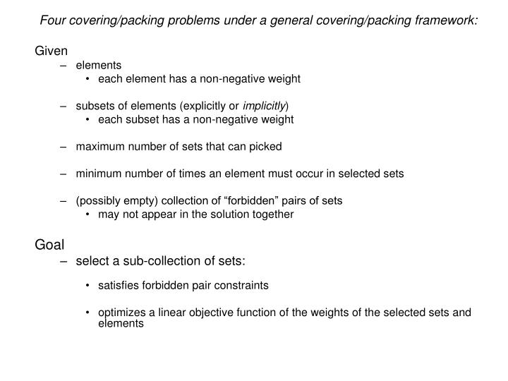 Four covering/packing problems under a general covering/packing framework: