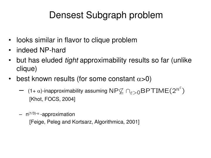 Densest Subgraph problem