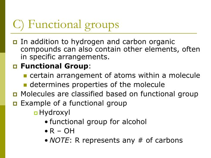 C) Functional groups