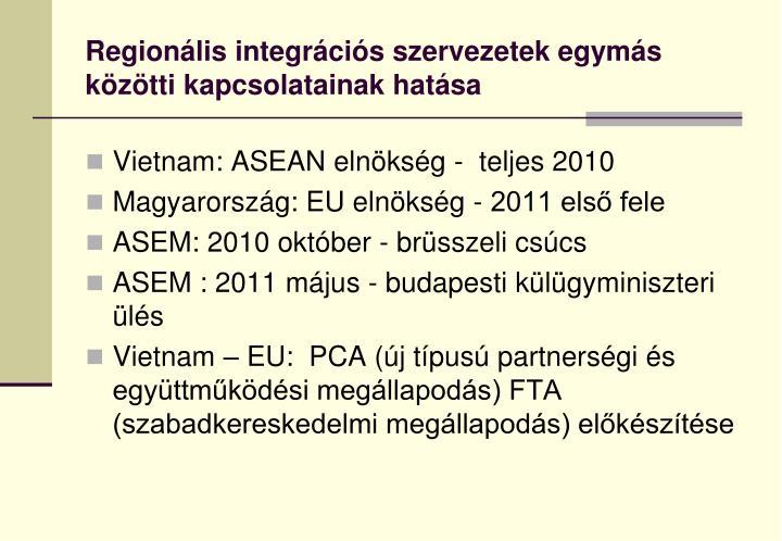 Regionális integrációs szervezetek egymás közötti kapcsolatainak hatása