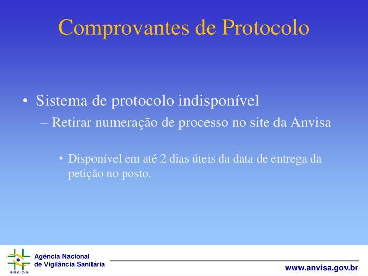 Comprovantes de Protocolo