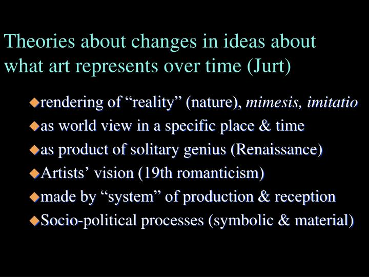 Theories about changes in ideas about what art represents over time (Jurt)