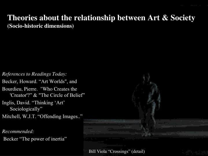 Theories about the relationship between art society socio historic dimensions