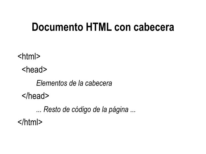 Documento HTML con cabecera