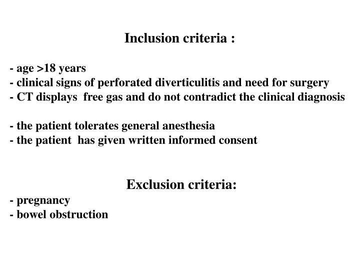 Inclusion criteria :