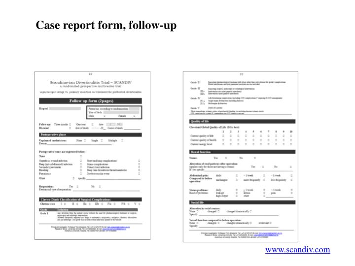 Case report form, follow-up