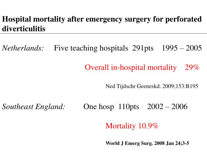 Hospital mortality after emergency surgery for perforated diverticulitis