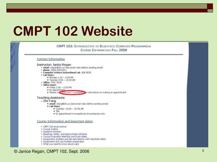 CMPT 102 Website