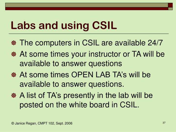 Labs and using CSIL