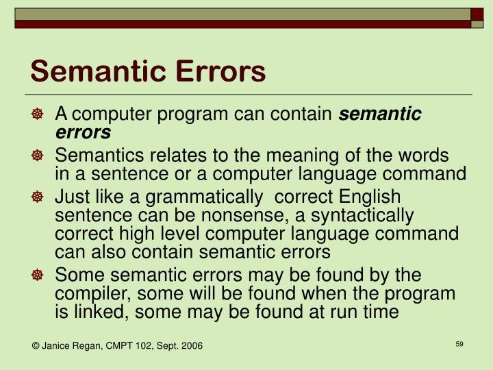 Semantic Errors