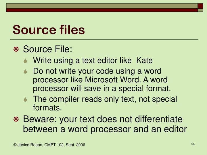 Source files