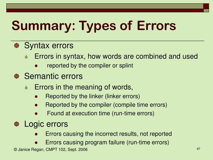 Summary: Types of Errors