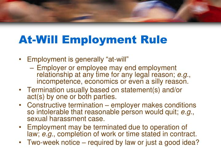 At-Will Employment Rule