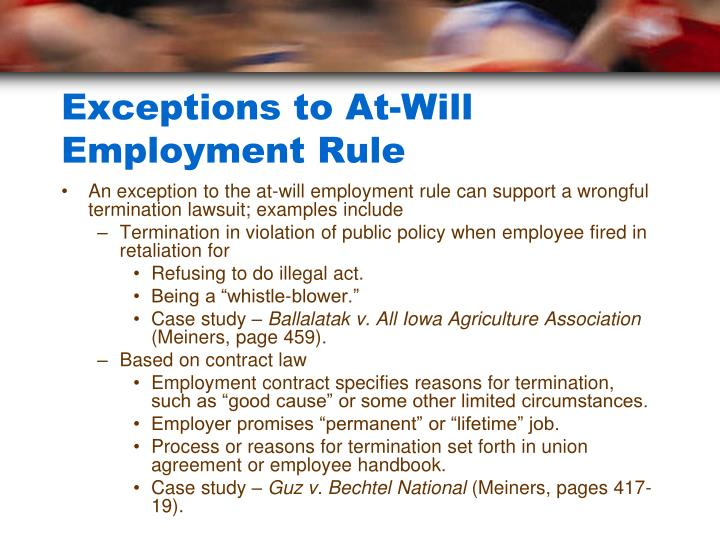 Exceptions to At-Will Employment Rule