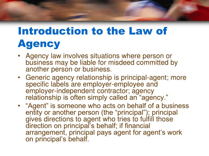 Introduction to the law of agency