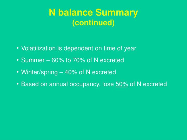 N balance Summary