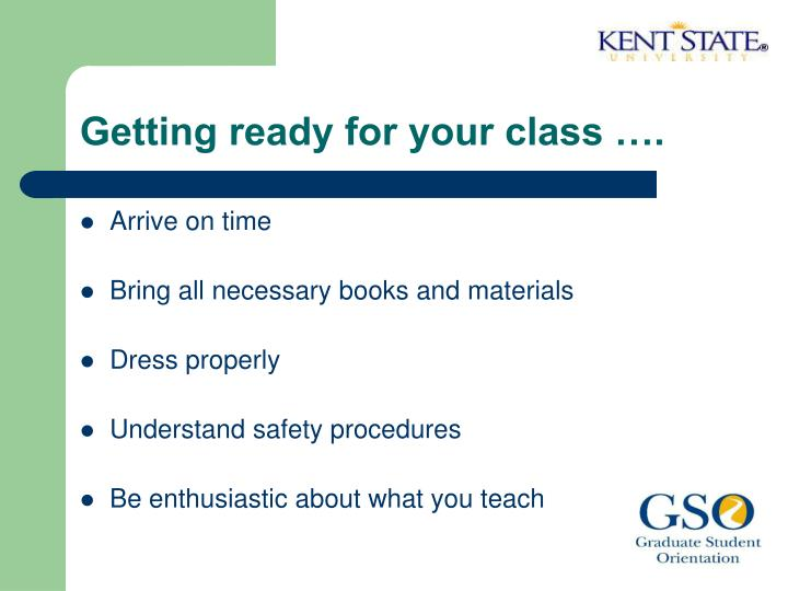 Getting ready for your class ….