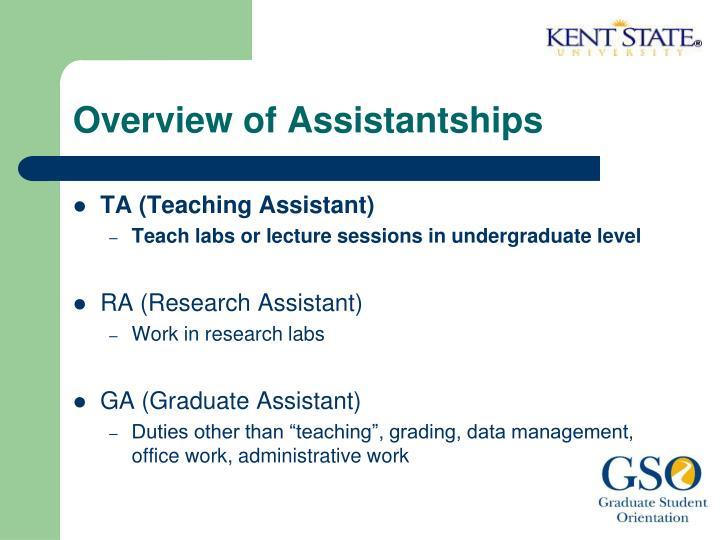Overview of Assistantships