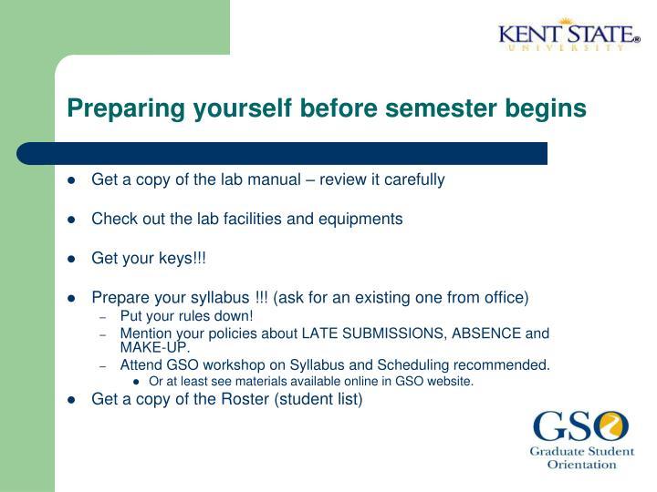 Preparing yourself before semester begins