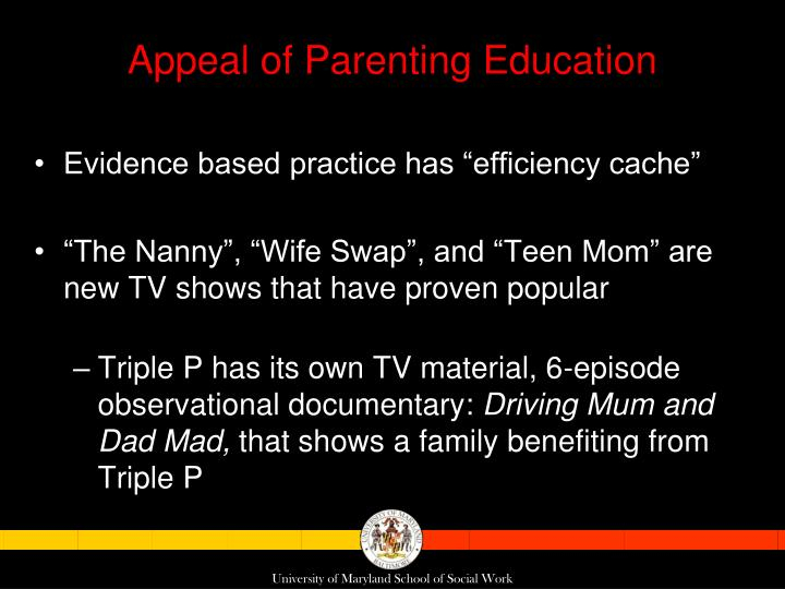 Appeal of Parenting Education