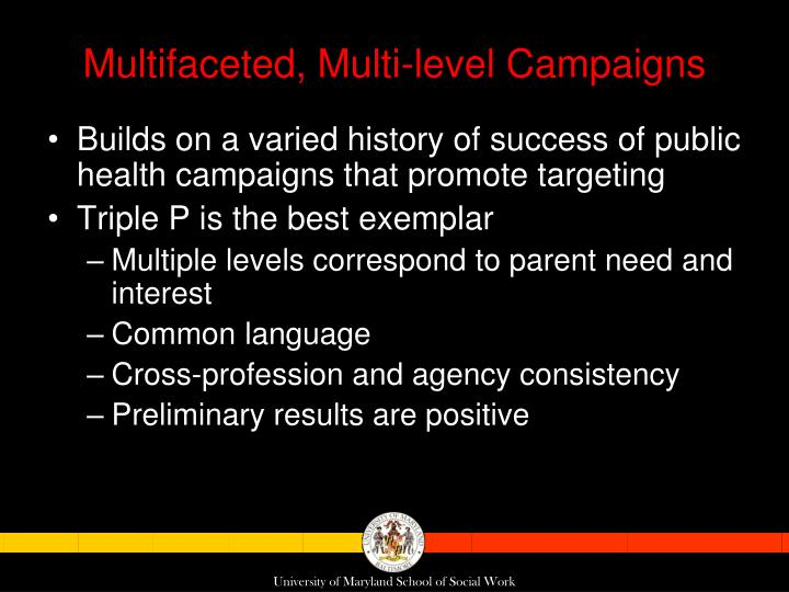 Multifaceted, Multi-level Campaigns