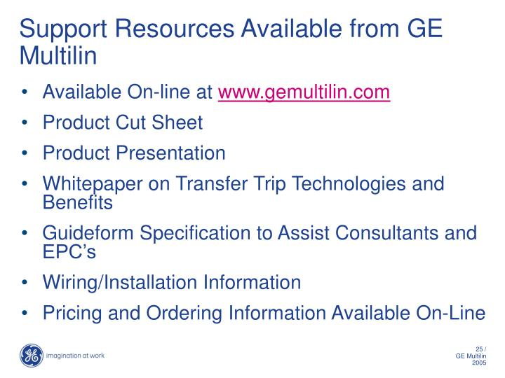 Support Resources Available from GE Multilin