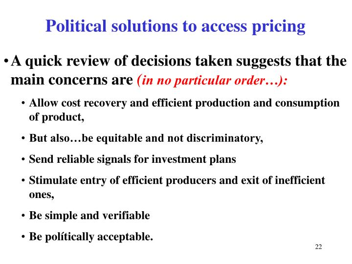 Political solutions to access pricing