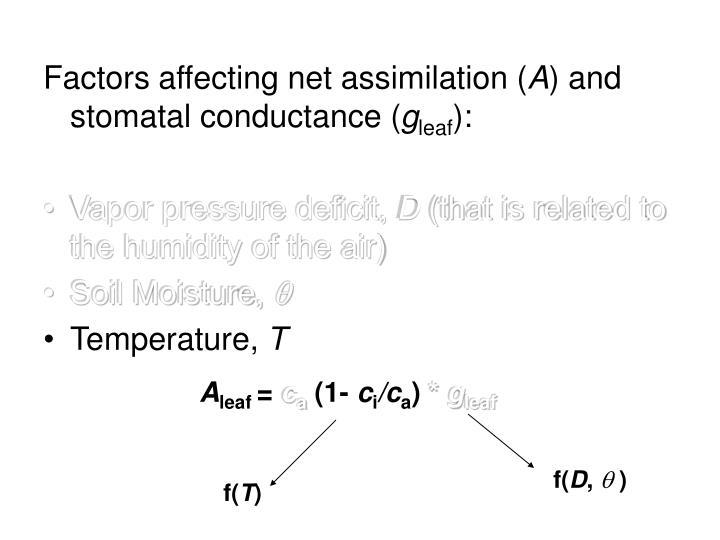 Factors affecting net assimilation (