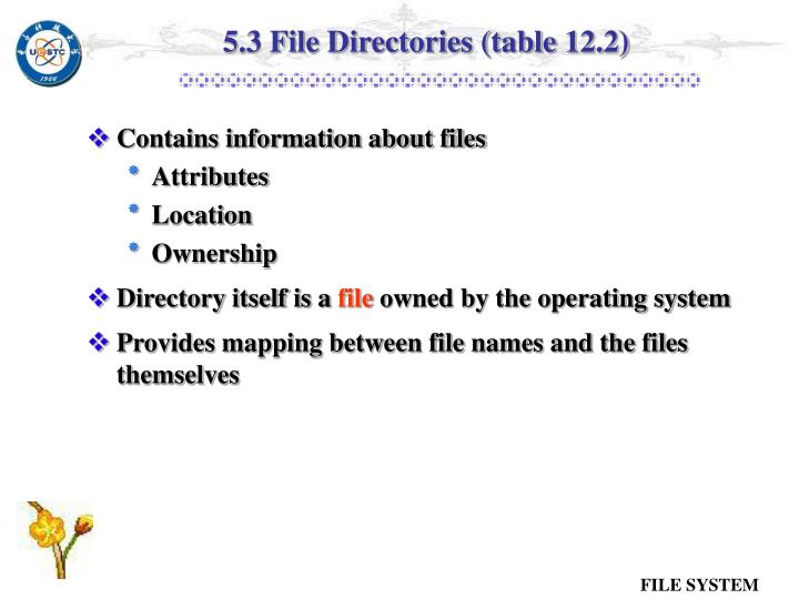 5.3 File Directories (table 12.2)