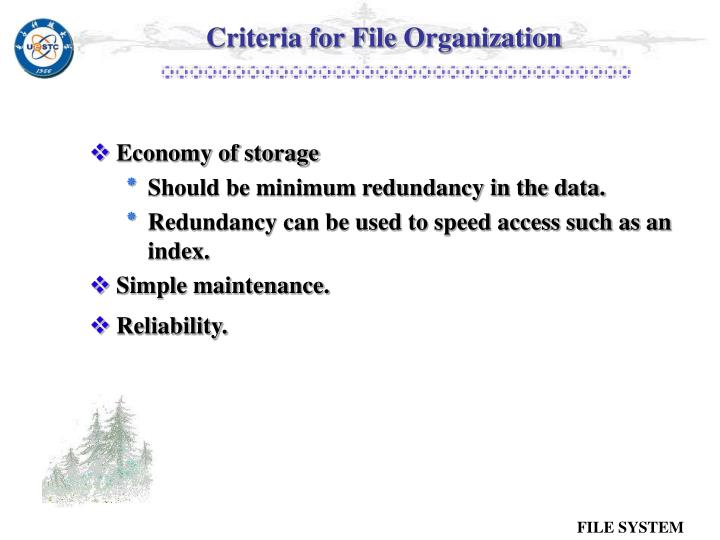 Criteria for File Organization
