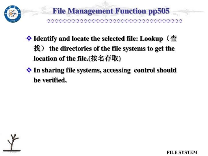 File Management Function pp505