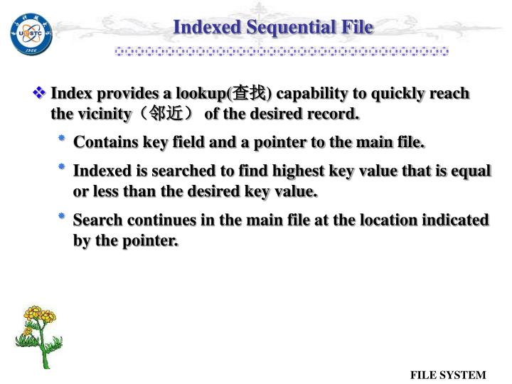 Indexed Sequential File