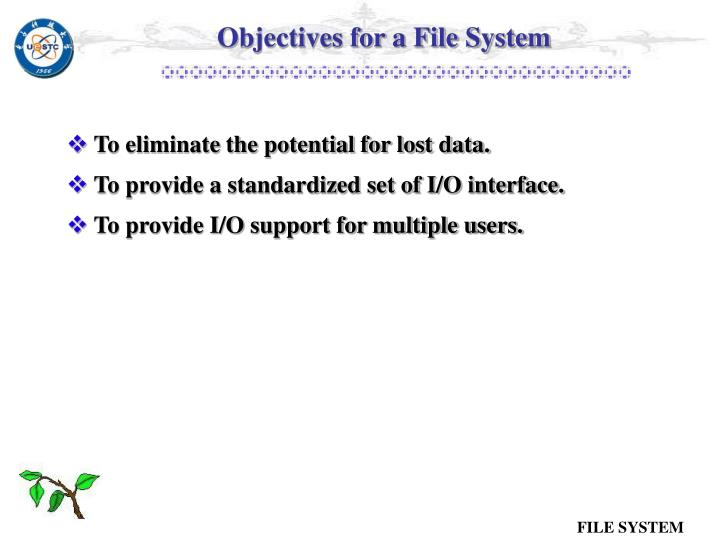 Objectives for a File System