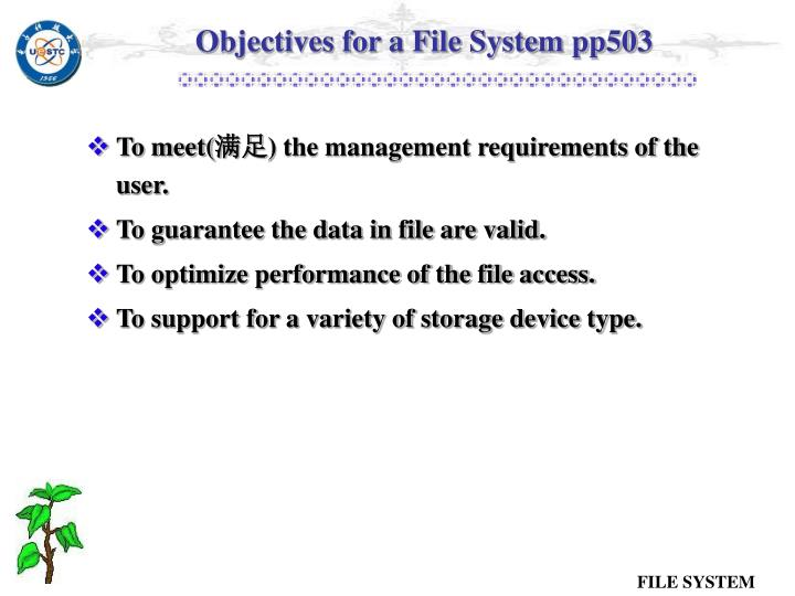 Objectives for a File System pp503