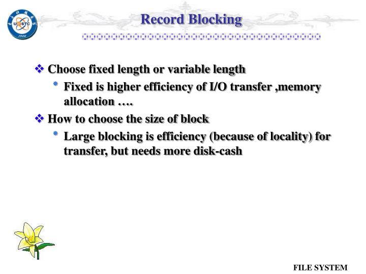 Record Blocking