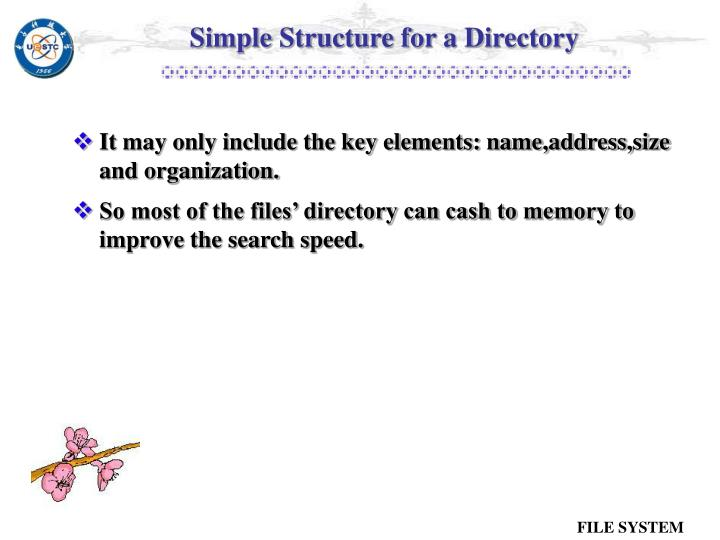 Simple Structure for a Directory
